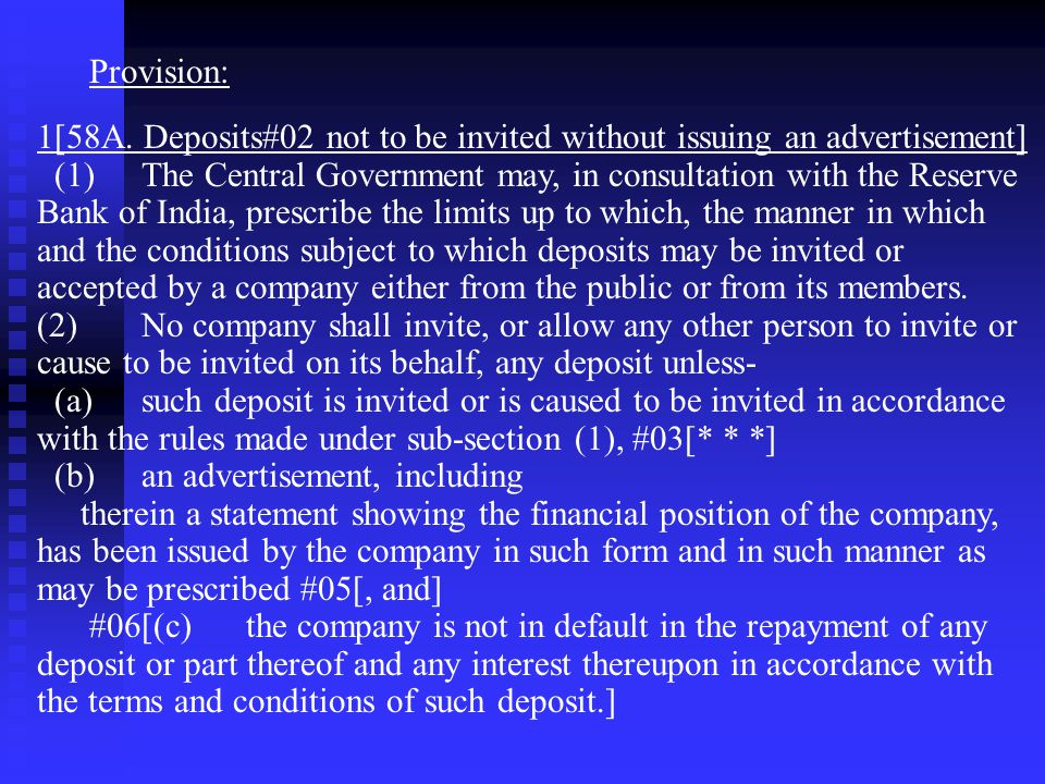 Provision: 1[58A. Deposits#02 not to be invited without issuing an advertisement]
